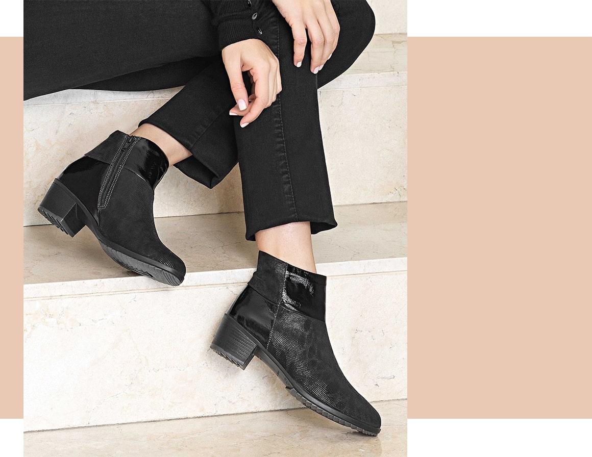 Botas ortopédicas de senhora da marca de calçado Suave.